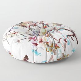 Sparrows and Apricot Tree Blossom Floor Pillow