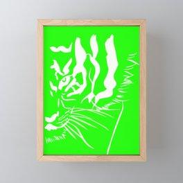 Eye of the tiger - Green & White Framed Mini Art Print