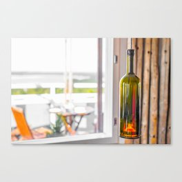 Wine Bottle Lamp Canvas Print