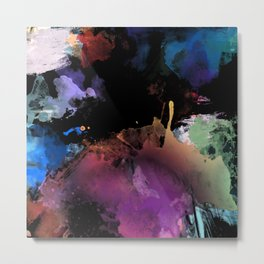 Dark Abstract Watercolor Metal Print