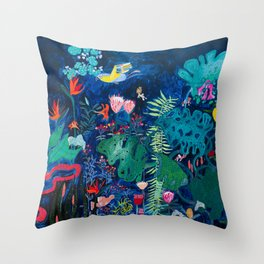 Brightly Rainbow Tropical Jungle Mural with Birds and Tiny Big Cats Throw Pillow