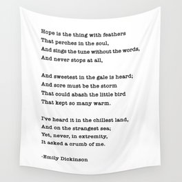 Emily Dickinson Hope is the thing with feathers Wall Tapestry