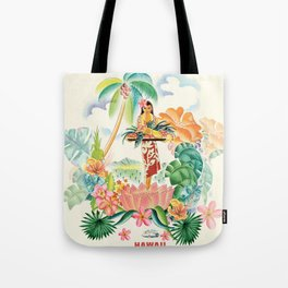 Vintage Hawaiian Travel Poster Tote Bag