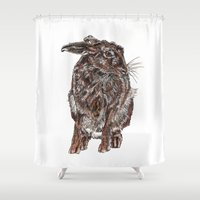 hare Shower Curtains featuring Hare by Meredith Mackworth-Praed