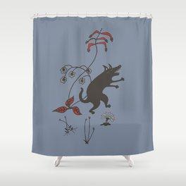 Black Dog Dancing in a Gorey Garden Shower Curtain