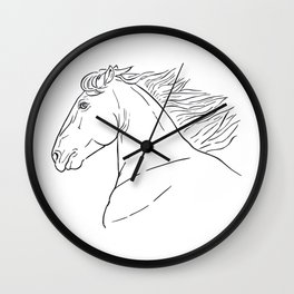 Horse head, black and white realistic illustration. Wall Clock