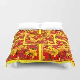 Decorative Tomato Red Patterns of Yellow Garden Daffodils Duvet Cover