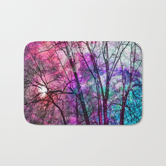 Purple teal forest Bath Mat