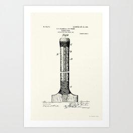 Cricket Bat Patent - Circa 1906 Art Print
