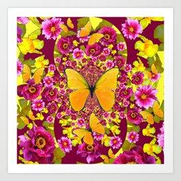 GARDEN FLOWERS & YELLOW BUTTERFLIES Art Print