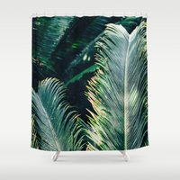 palm tree Shower Curtains featuring Palm Tree by Pati Designs