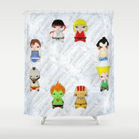 street fighter Shower Curtains featuring A Boy - Street fighter by Christophe Chiozzi