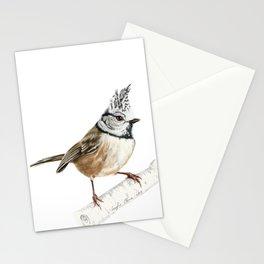 European crested tit, Lophophanes cristatus Stationery Cards