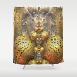 Gold Fractals Shower Curtain