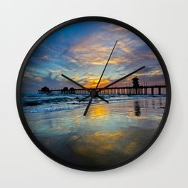 Sunset Huntington Beach Pier  3/23/14 Wall Clock