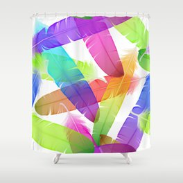 Colorful seamless feather vector pattern Shower Curtain