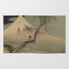 Boy Viewing Mount Fuji by Katsushika Hokusai Rug