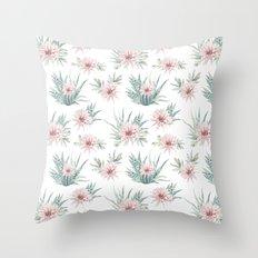Cactus Rose Succulent Garden Throw Pillow