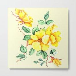 YELLOW FLOWER ON CREAM Metal Print
