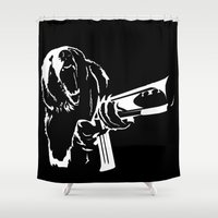 "scarface Shower Curtains featuring Say Hello To My Little Friend - ""Action Animals Collection"" No. 1 of 4 by Chase Falkenhagen"