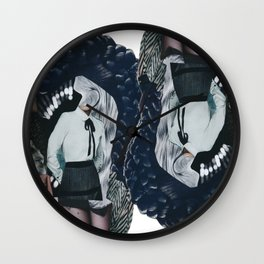 She was all mixed up - a modern, black and white collage by jules tillman Wall Clock