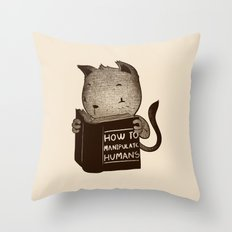 Cat Book How To Manipulate Humans Throw Pillow