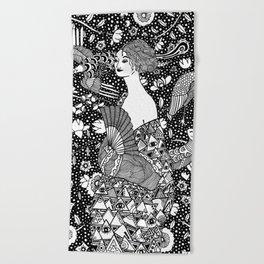 Gustav Klimt - Lady with fan Beach Towel