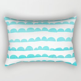 Handdrawn fun stripes pattern in turquoise on white background #Society6 Rectangular Pillow