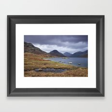 Rain clouds over Scafell and Great Gable. Wastwater, Cumbria, UK. Framed Art Print