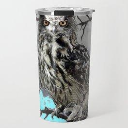 WILDERNESS OWL IN TREE &  BLUE  SKIES Travel Mug