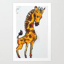 Nils the big headed giraffe Art Print