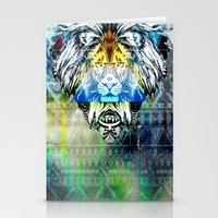 lion king Stationery Cards featuring KING LION by sametsevincer