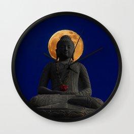 Meditating Under The Harvest Moon. Wall Clock