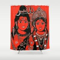 shiva Shower Curtains featuring Shiva Shakti by Anastasia Fomina