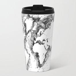 Watercolor splatters world map in grayscale Travel Mug