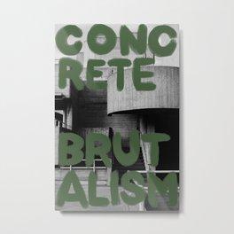 Concrete Brutalism Green Metal Print