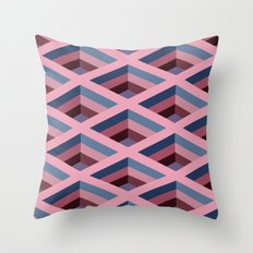 SQUARE HOLES / pale pink / marine blue / ancient pink / violet dark Throw Pillow