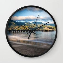 Hanalei Pier Kauai Wall Clock