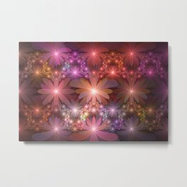 Bed Of Flowers Abstract, Fractal Art Metal Print