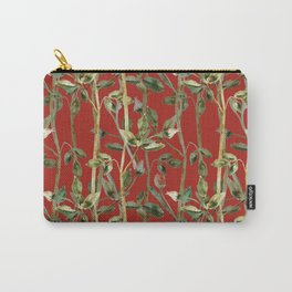 Rose branches and leaves on red Carry-All Pouch