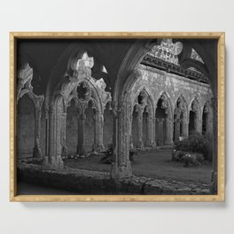 Gothic Cloister of Saint-Pierre, La Romieu, France black and white photograph / art photography Serving Tray