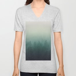 trees in fog forest landscape photography - cloudy nature Unisex V-Neck