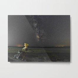 Rocky coast under the Milky Way in Andros, Greece Metal Print