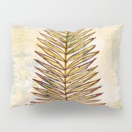 Palm Frond Leaf Abstract Geometric Polygon Watercolor Painting of Tropical Leave Pillow Sham