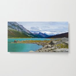 Medicine Lake in the Maligne Valley of Jasper National Park, Canada Metal Print