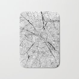 Paris White Map Bath Mat