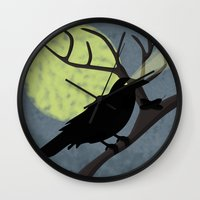 crow Wall Clocks featuring Crow by Nir P