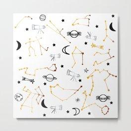 Astrology Pattern Gold and Black #homedecor Metal Print