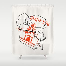 Chinese Food Takeout - Contour Line Drawing Shower Curtain