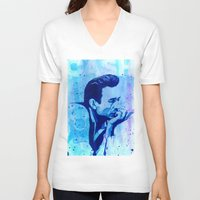 johnny cash V-neck T-shirts featuring Johnny Cash by Jason Hughes